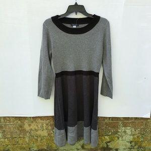 Tommy Hilfiger Gray and Black Sweater Dress Sz M
